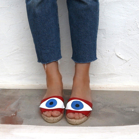 EVIL EYE SLIDES - RED - Maslinda Designs