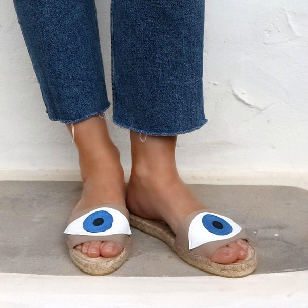 Evil Eye Slides Beige - Maslinda Designs