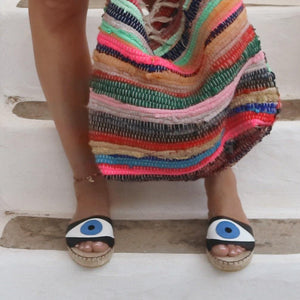 EVIL EYE SLIDES - BLACK - Maslinda Designs