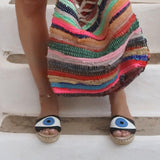 Espadrilles Sandals with Evil Eye in Black  Open Toe Shoes. Flat Summer Shoes for Women. Handmade Greek Sandals, Gift for Her