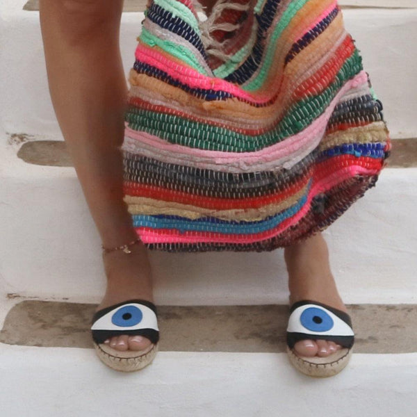 Evil Eye Espadrilles Slides - Black - Maslinda Designs