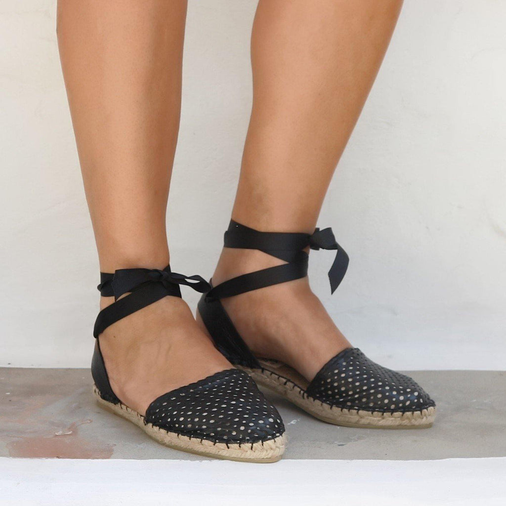 LEATHER ESPADRILLES SANDALS - PEEK A BOO BLACK - Maslinda Designs