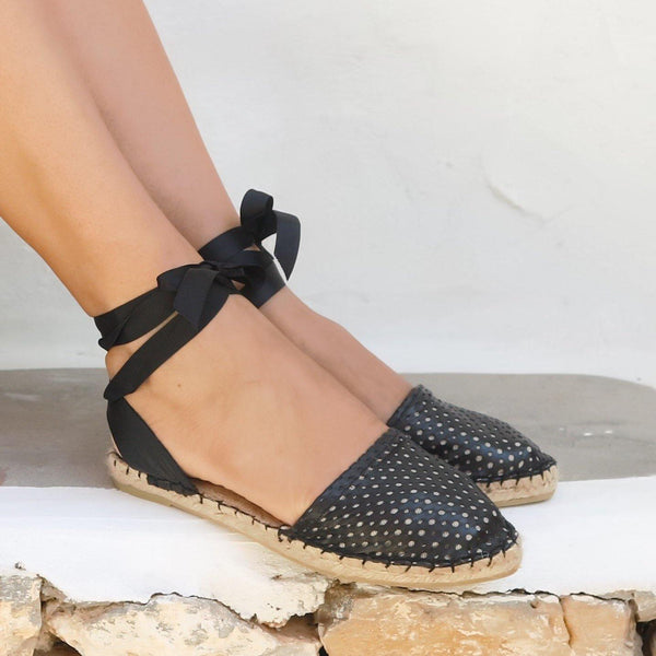Leather Espadrilles Sandal  - Peek a Boo Black - Maslinda Designs