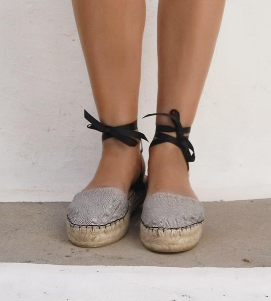ESPADRILLES SHOES - HERRINGBONE GRAY - Maslinda Designs