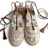Low Wedge Espadrilles - World Map Print Beige - Maslinda Designs