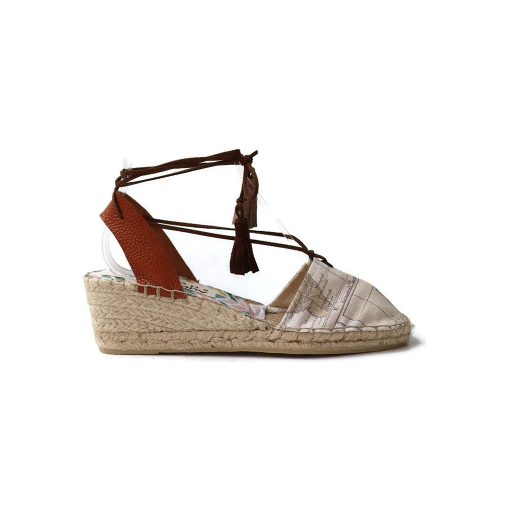 LOW WEDGE ESPADRILLES - WORLD MAP PRINT-Maslinda Designs
