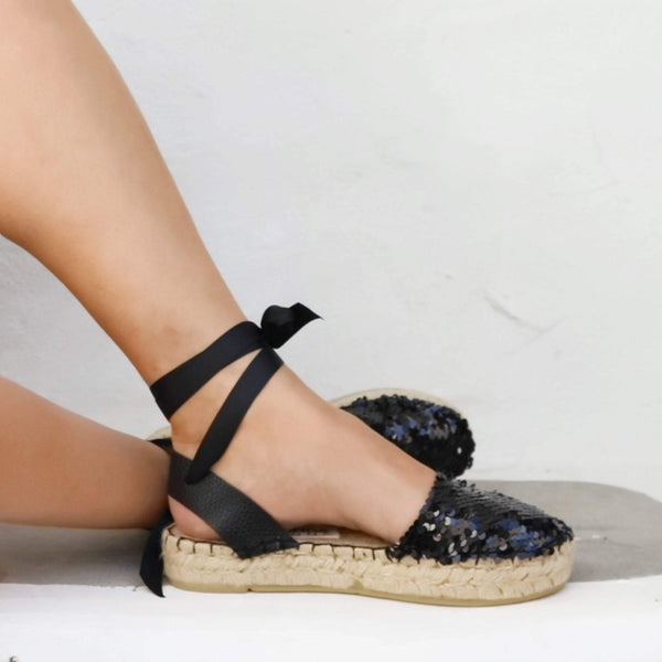 Sequin Black Espadrilles - Maslinda Designs