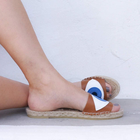 EVIL EYE SLIDES - TAN - Maslinda Designs