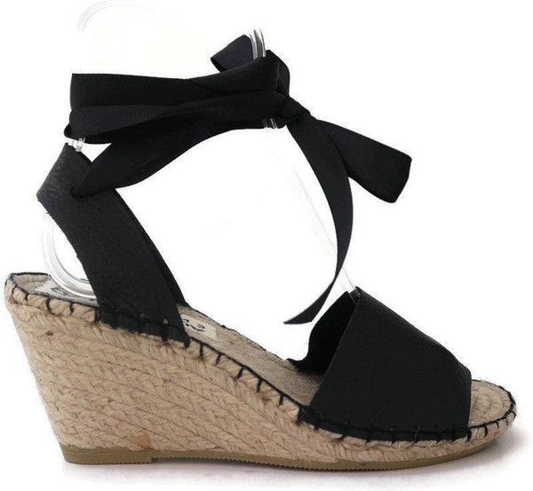 HIGH WEDGE ESPADRILLES - BLACK - Maslinda Designs