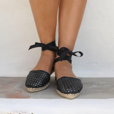 LEATHER ESPADRILLES SANDALS - PEEK A BOO BLACK-Maslinda Designs