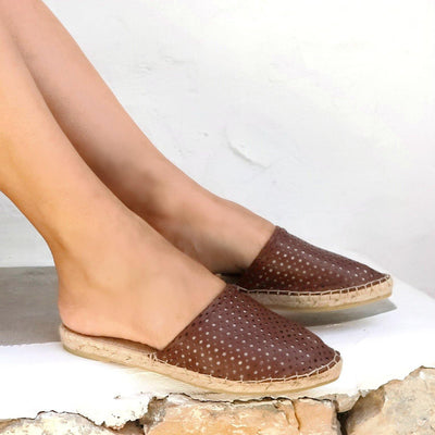 LEATHER ESPADRILLES MULES - PEEK A BOO CHOCOLATE-Maslinda Designs