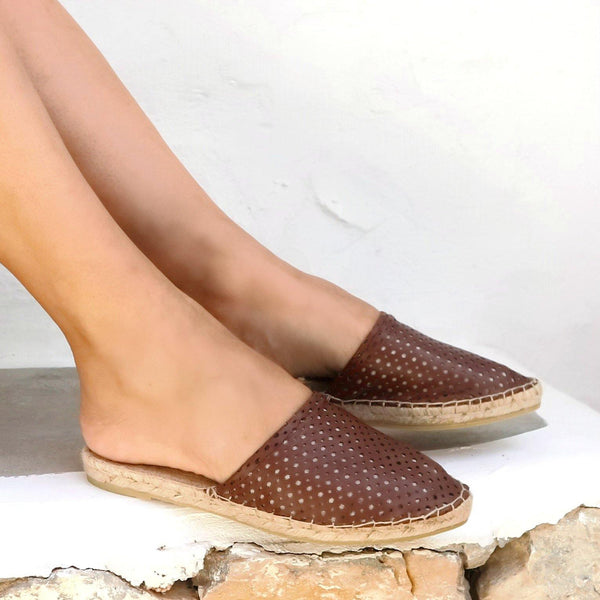 LEATHER ESPADRILLES MULES - PEEK A BOO CHOCOLATE - Maslinda Designs