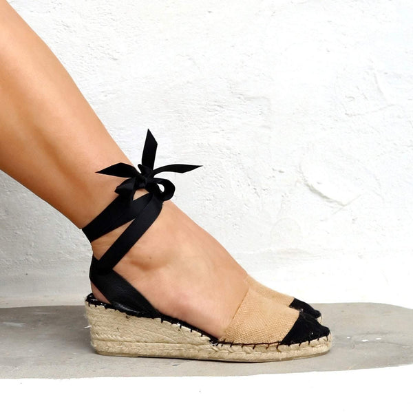 Ma Belle Low Wedge Espadrilles in Beige - Maslinda Designs