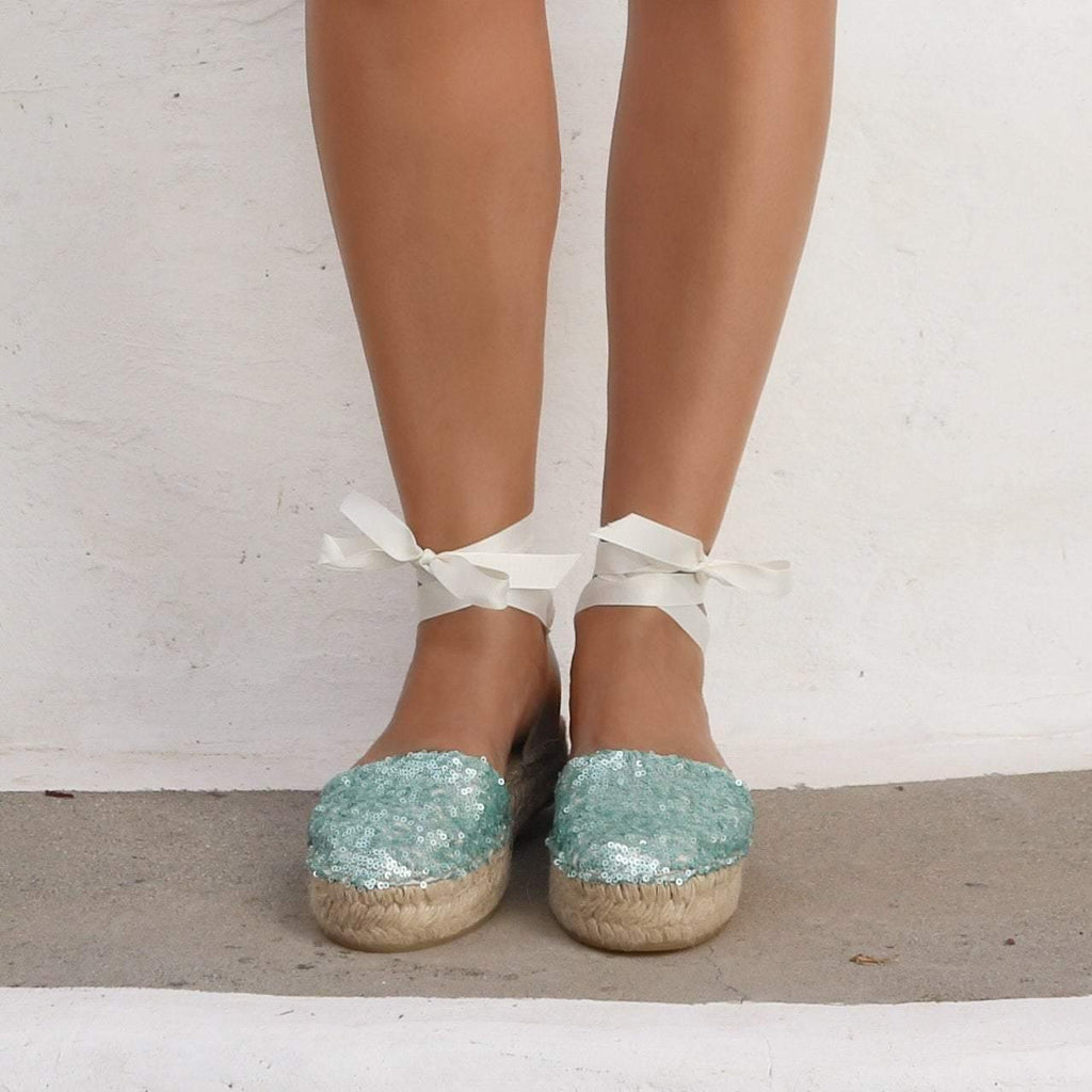 ESPADRILLES SANDALS - SEQUINS MINT - Maslinda Designs