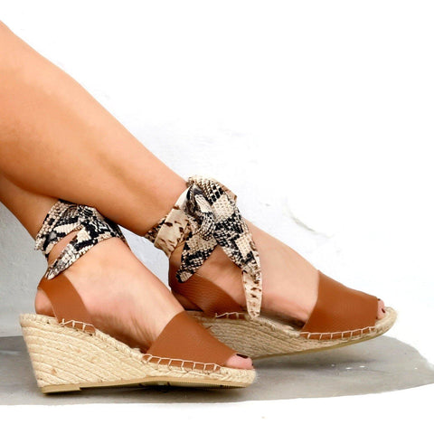 HIGH WEDGE ESPADRILLES - TAN LEATHER - Maslinda Designs