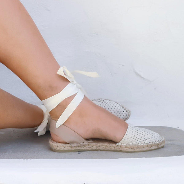 Leather Espadrilles Sandals - Peek a Boo White - Maslinda Designs