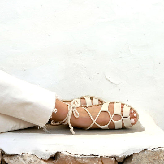 VEGAN SANDALS GLADIATOR OFF-WHITE - Maslinda Designs