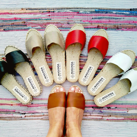 SIMPLE LEATHER SLIDES - 5 COLORS - Maslinda Designs