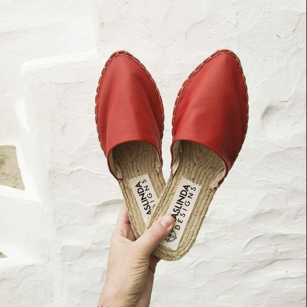 LEATHER ESPADRILLES MULES - RUBY RED - Maslinda Designs