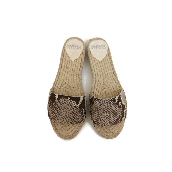 Espadrilles Slide Sandals in Snake