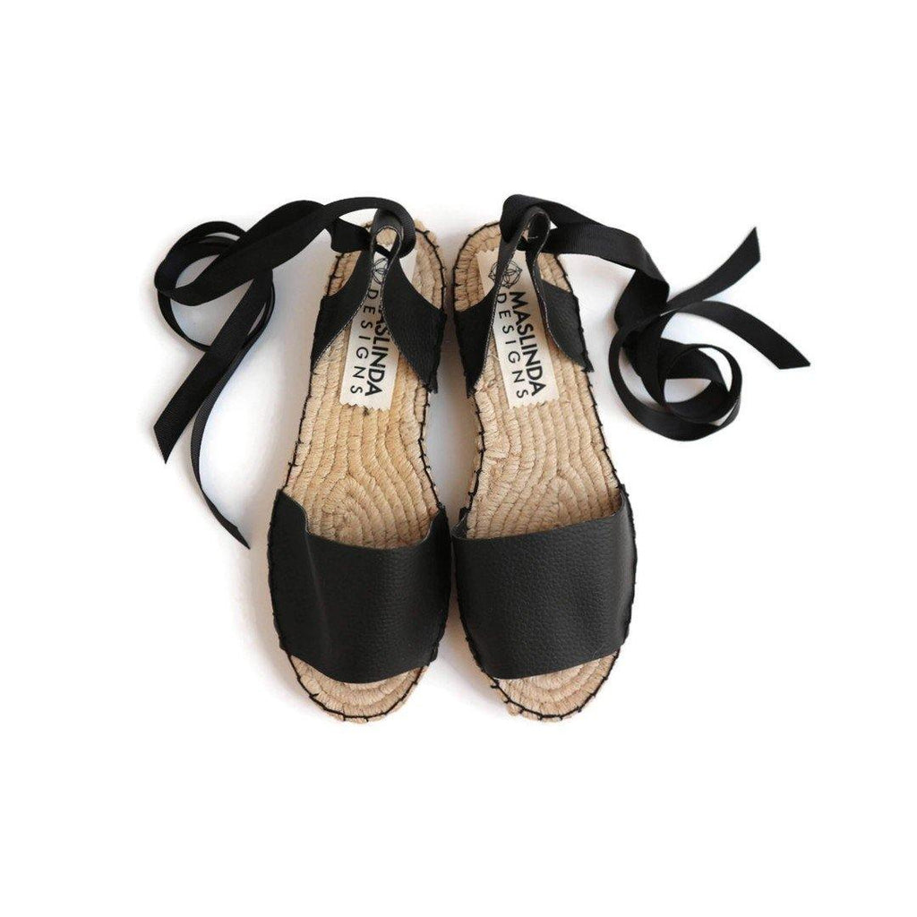 VEGAN ESPADRILLES SANDALS - BLACK - Maslinda Designs