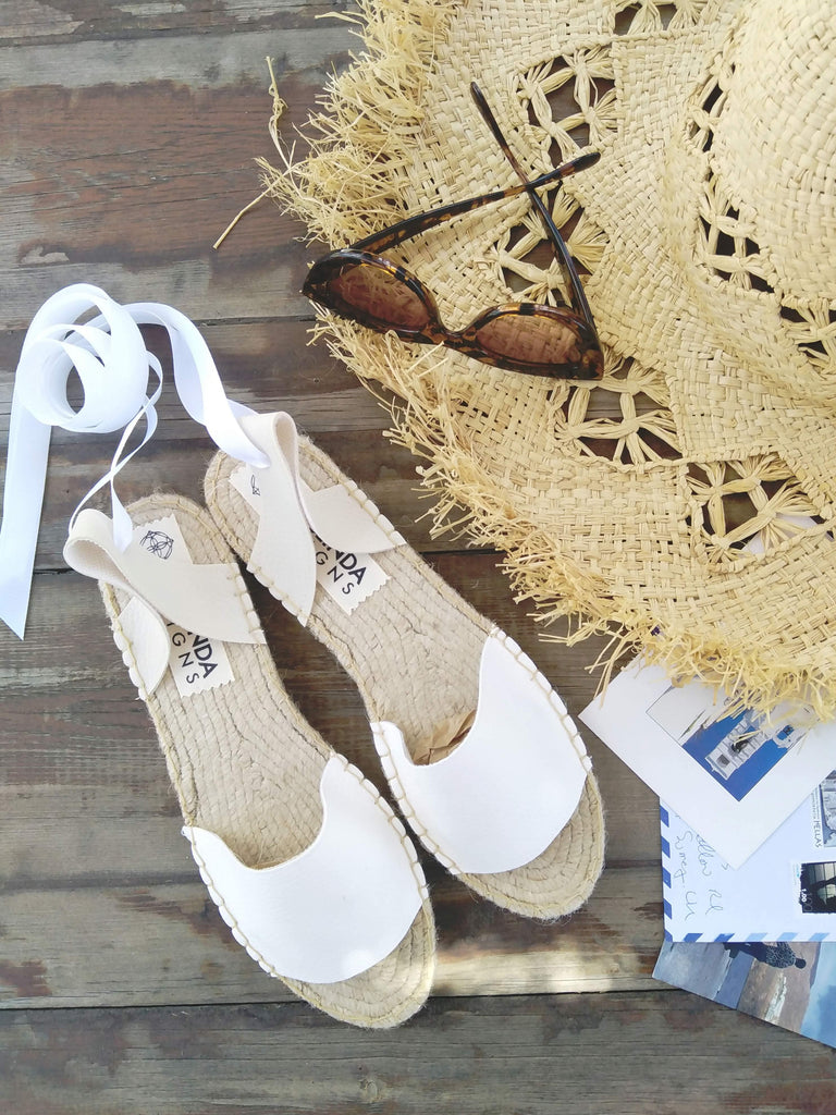 VEGAN ESPADRILLES SANDALS - WHITE - Maslinda Designs