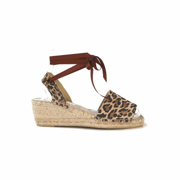 LOW WEDGE SUEDE ESPADRILLES - LEOPARD - Maslinda Designs