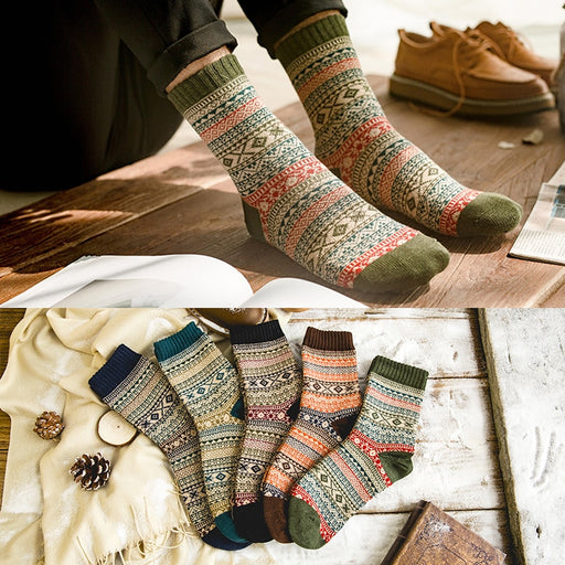 Warm Stripe Wool Socks