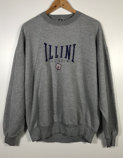 Embroidered Illini Illinois Crewneck - L