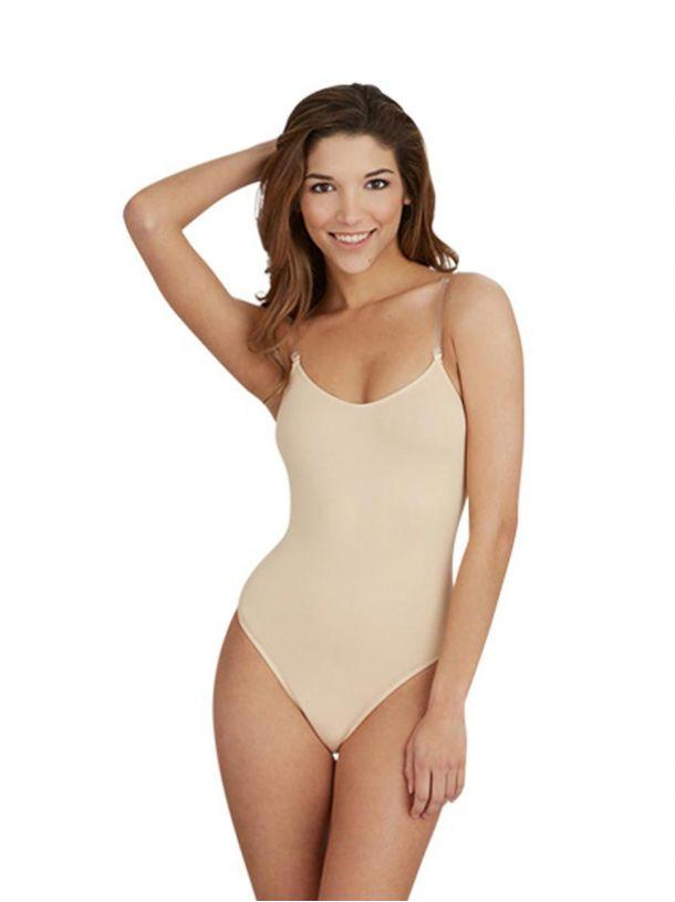 Adult Camisole Leotard with Clear Transition Straps Leotards Capezio Adult XS Nude