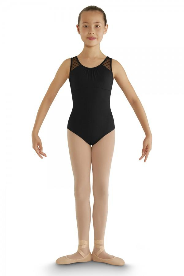 Girls Miame Heart Mesh Scoop Neck Tank Leotard Leotards Bloch Child 6X-7 Black
