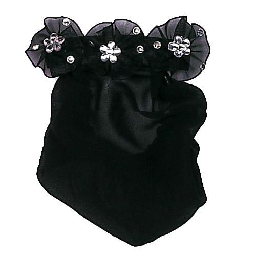 Jeweled Pinwheel with Snood Hair Accessories Dasha Designs Black