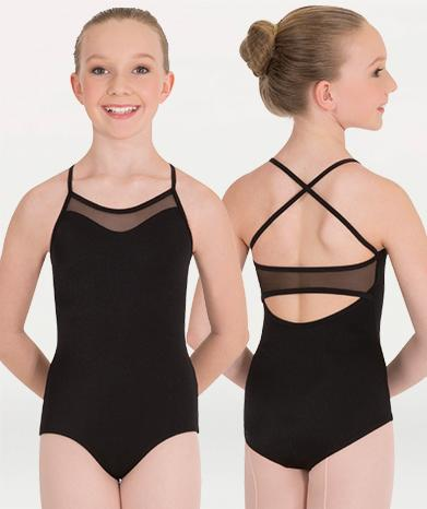 Mesh Inserts Camisole Child Leotard Leotards Body Wrappers Child 6X-7 Black