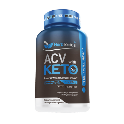 HerbTonics Apple Cider Vinegar + KETO Weight Control Formula With the Mother 1500mg ACV (120 caps)