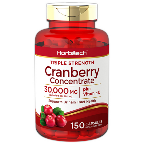 Horbaach Triple Strength Cranberry Concentrate Capsules 30,000 mg plus Vitamin C (150 capsules)