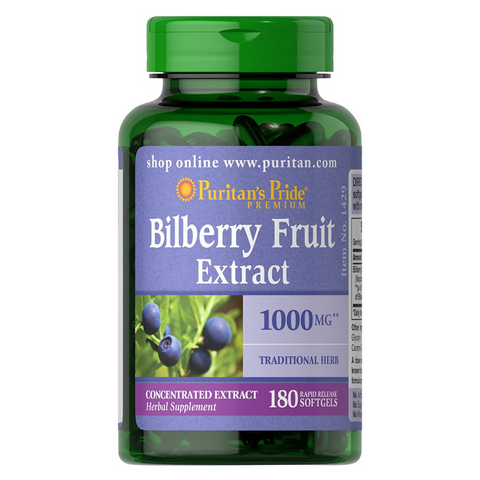 Puritan's Pride Bilberry Fruit Extract 1000mg (180 softgels - rapid release)