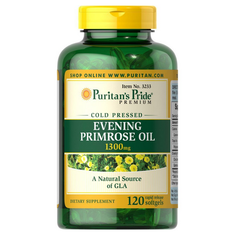 Puritan's Pride Cold Pressed Evening Primrose Oil 1300mg - 120 softgels