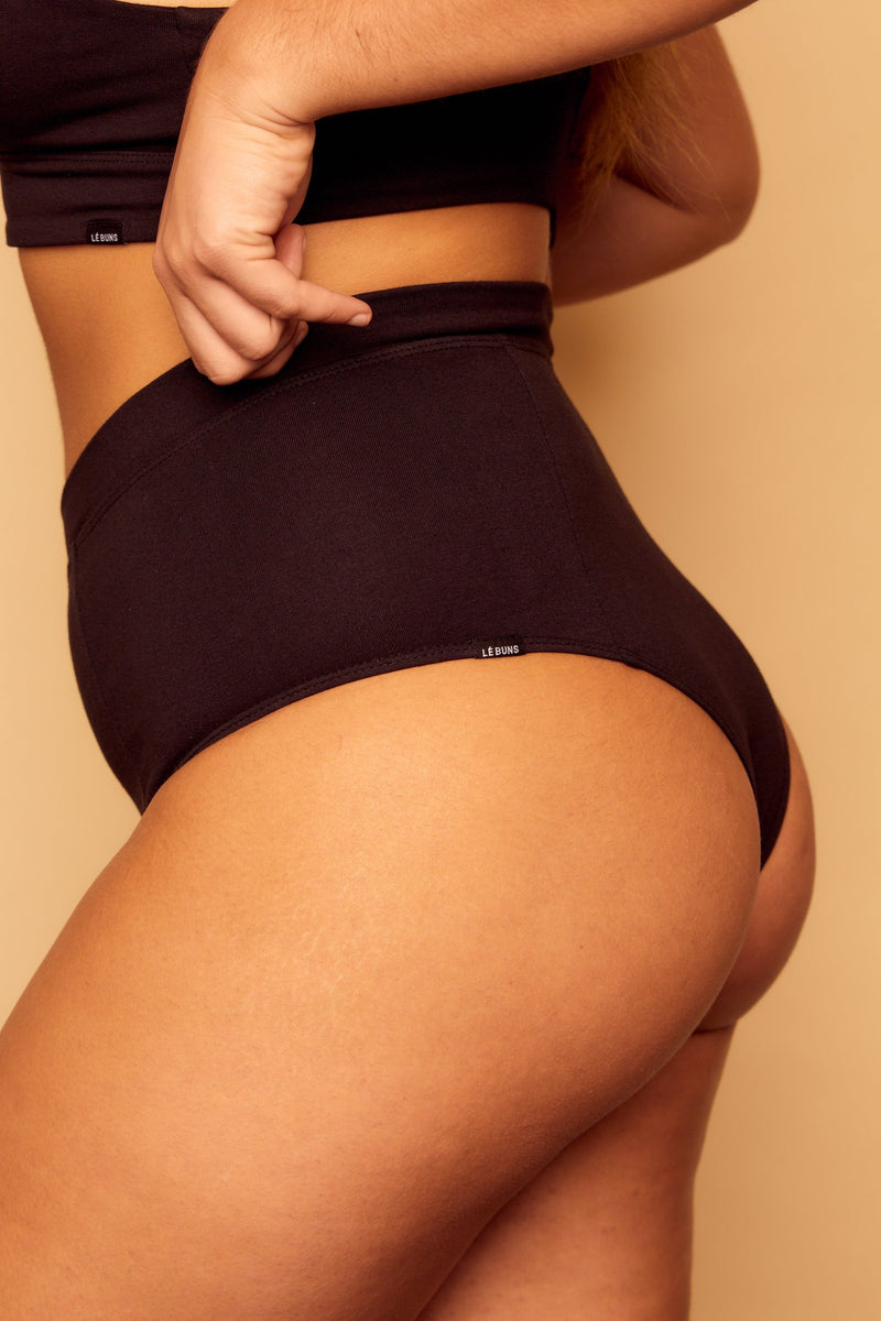 Zari Organic Cotton High Cut Cheeky Brief Black