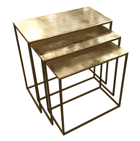 Nest of 3 Hammered Metal Tables in an Antiqued Brass Colour