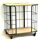Natural Wood Effect and Black Metal Storage Unit with Wheels
