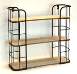 Black Metal and Wood Effect Wall Hanging 3 Shelf Unit