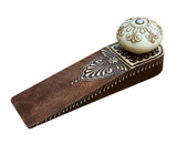 Mango Wood Door Wedge with Ceramic Door Knob Design - Oak Varnish