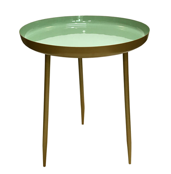 Matte Gold Coloured Side Table with Mint Green Enamel Top - TWO SIZES from