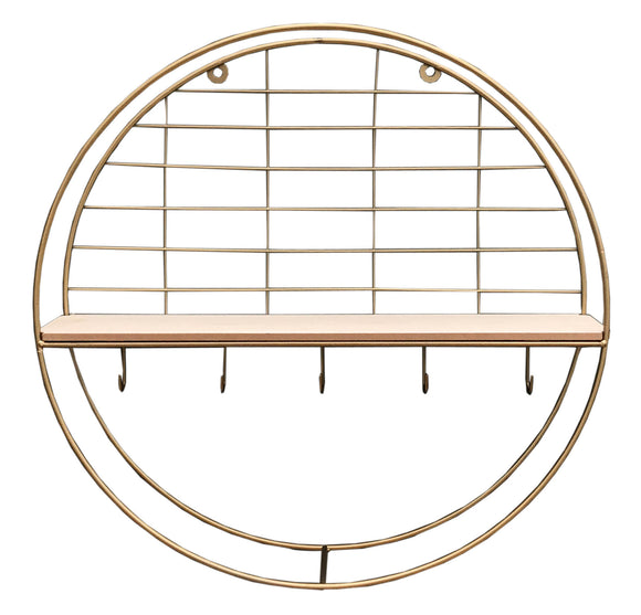 Round Gold Coloured Metal Wall Hanging Shelf Unit with Five Hooks
