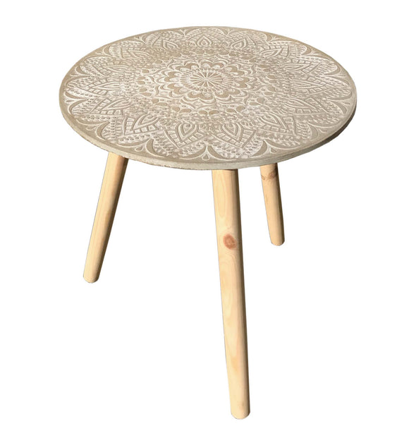 Round Rustic Wooden Table with Pale Grey Washed Carved Mandala Top
