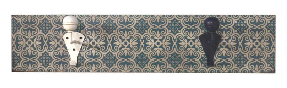 Decorative Moroccan Tile Style Wall Hanging Hook Board with Blue and Cream Hooks