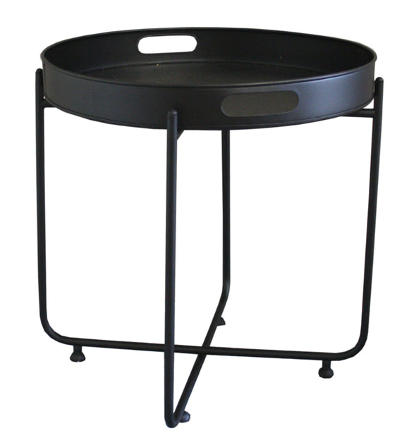 Black Metal Folding Table with Detachable Round Tray