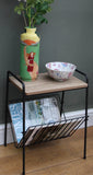 Black Metal Magazine Rack or Side Table with Wood Effect Top