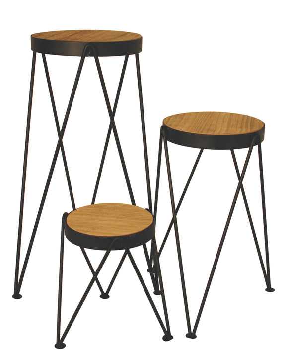 Set of 3 Metal Wire and Natural Wood Effect Nesting Occasional Tables or Plant Stands