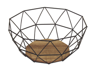Black Wire Geometric Bowl with Wood Effect Base